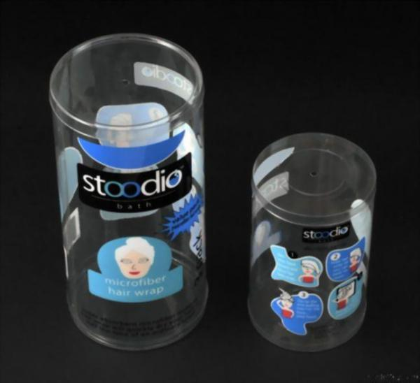 clear plastic cylinder tubes packaging with logo print